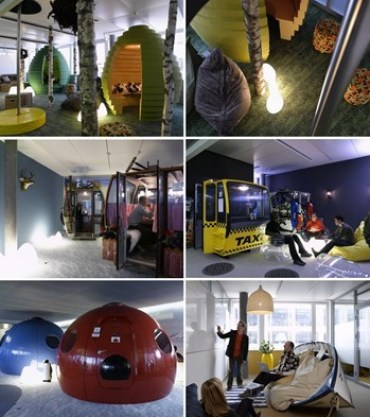 playful meeting rooms at zurich google office