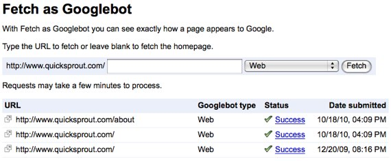 google webmaster tools fetch as Googlebot