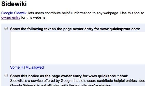 google webmaster tools Sidewiki