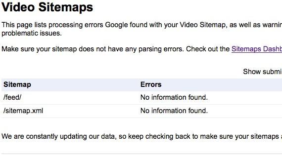 google webmaster tools video sitemaps
