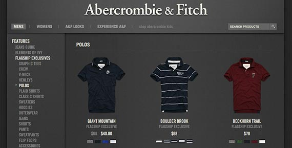 abercrombie website ecommerce example