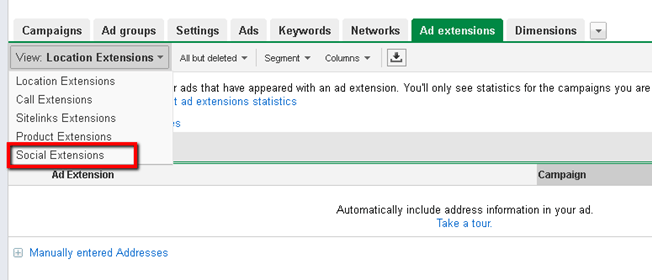 Location of social extensions in Google Adwords