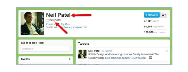 Neil Patel Twitter Name