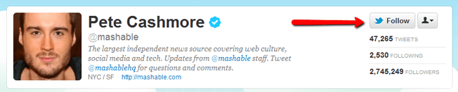 Follow Mashable on Twitter