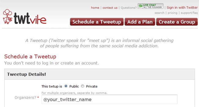 schedule a tweetup