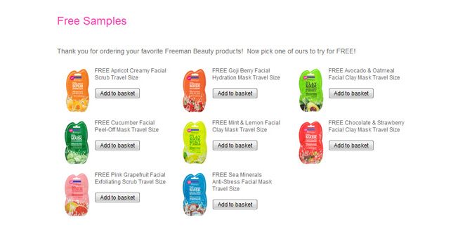 Freeman Beauty website lets customers add a sample to their basket