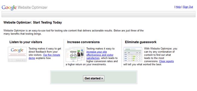 google website optimizer homepage
