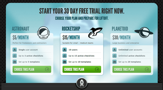 Screenshot of Launchlist's pricing table