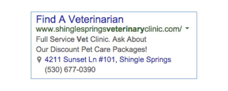 Annuncio testuale di studio veterinario