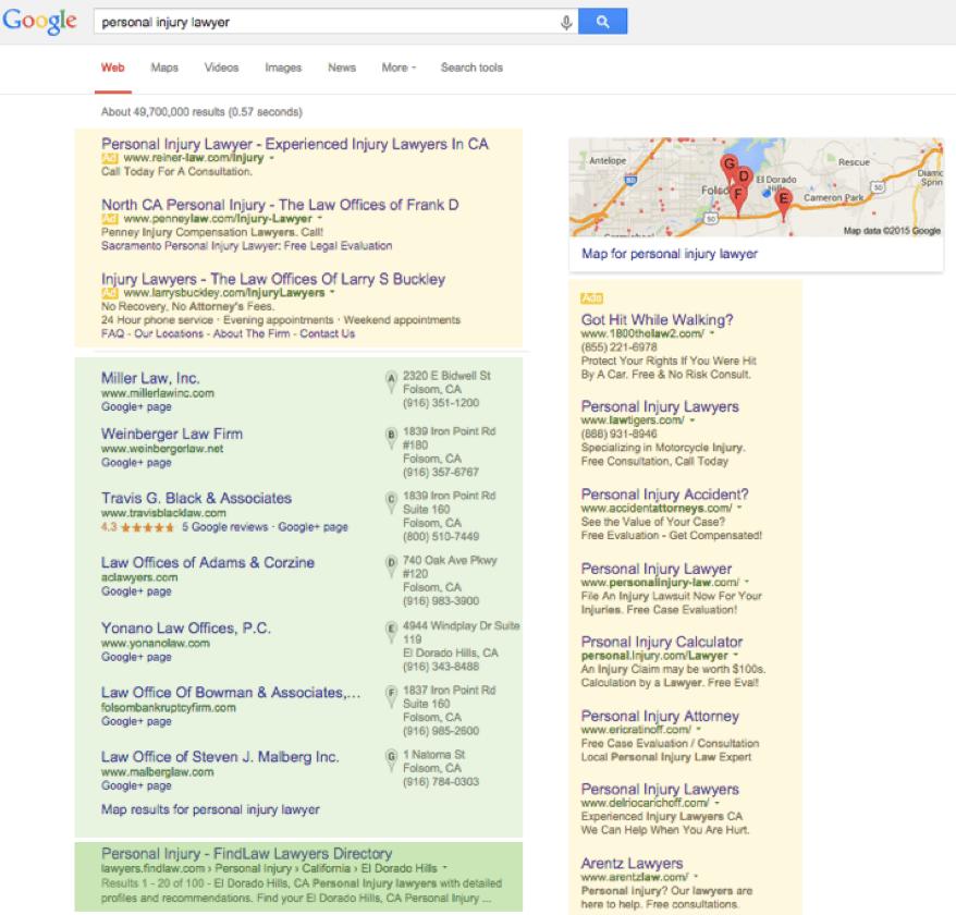 """Un esempio di ricerca su Google.I risultati evidenziati in giallo sono annunci PPC, quelli in verde chiaro sono risultati delle liste di Google My Business, mentre il risultato in verde scuro è l'unico """"naturale""""."""