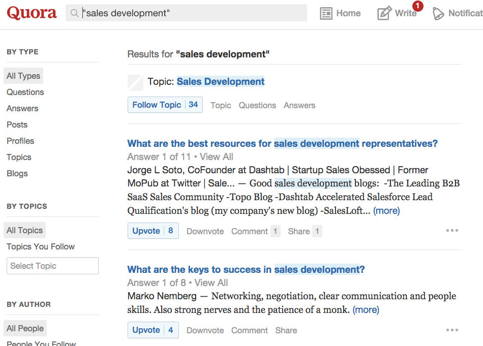 quora-sales-development-keyword-topic