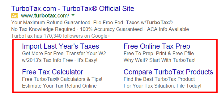 turbotax-adwords-ad-sitelink-extensions
