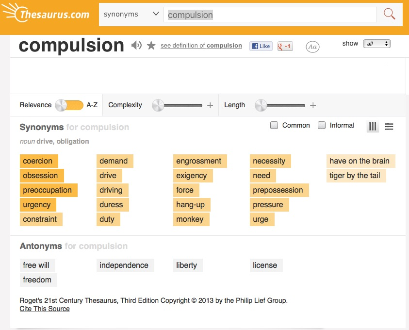 Compulsion-Thesaurus