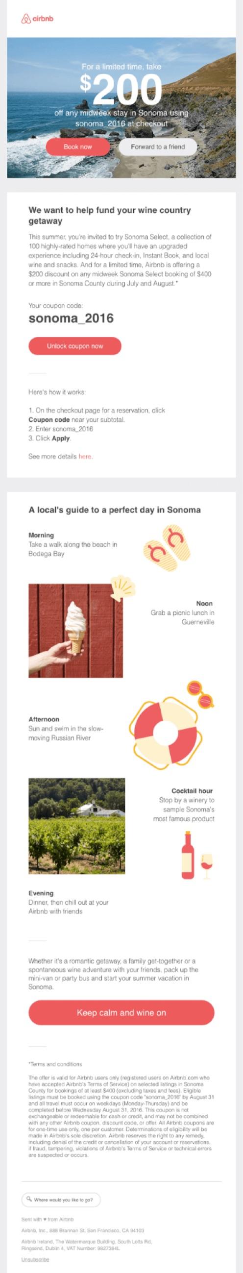 airbnb sonoma behavioral email marketing exp 2