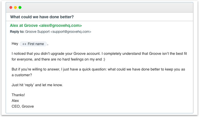 groove asking why customers are leaving