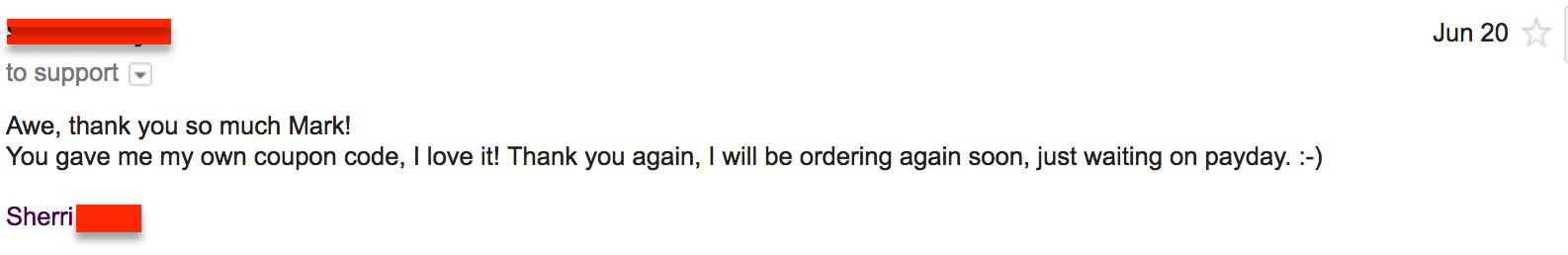 coupon code turns happy customer