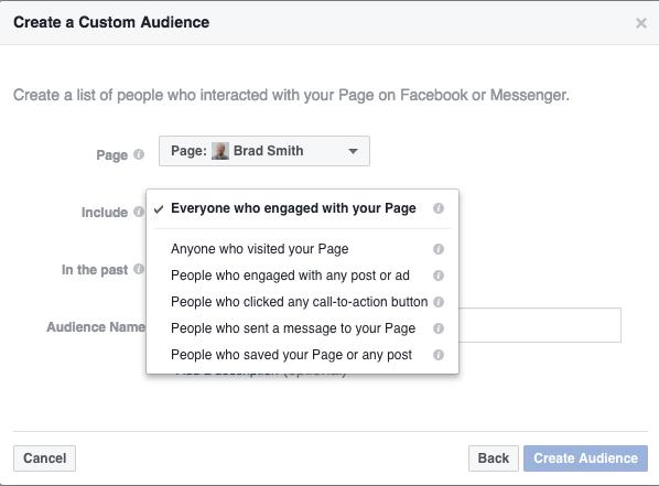Facebook custom audience ad setting