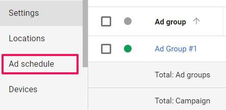 ad schedule adwords