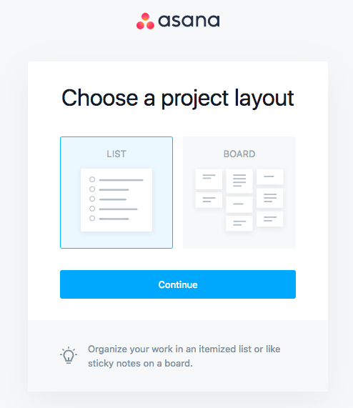 asana project layout choice onboarding steps