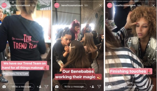 benefit beauty shoot instagram stories