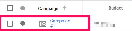 click on campaign in adwords