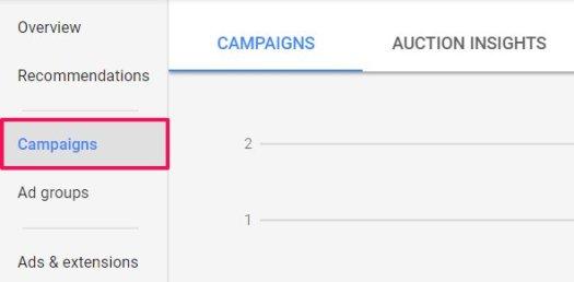 campaigns tab adwords