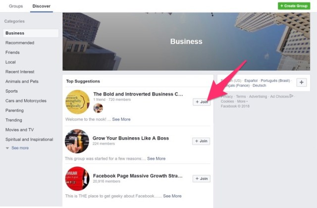 join business groups on facebook