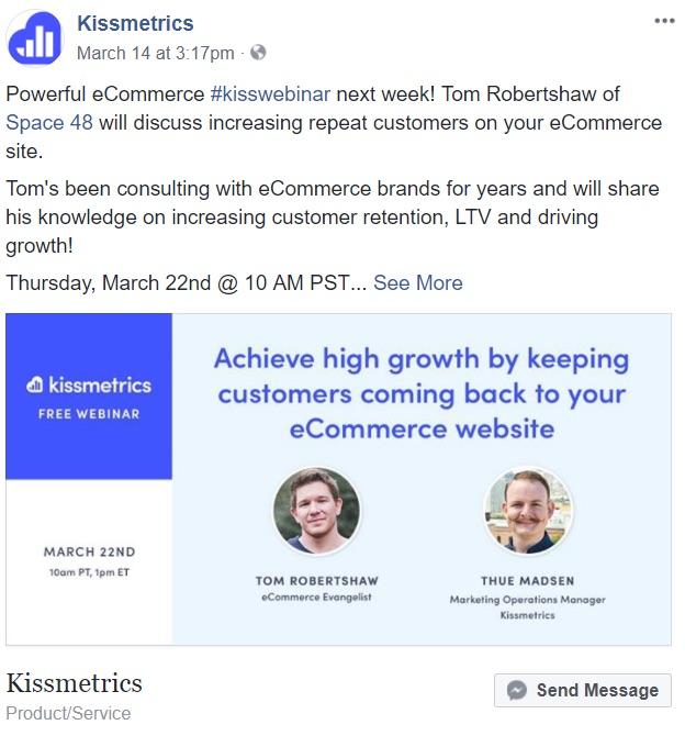 kissmetrics webinar ad on facebook