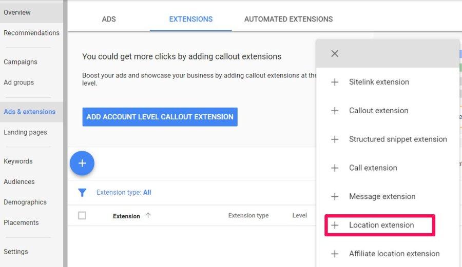 location extension adwords