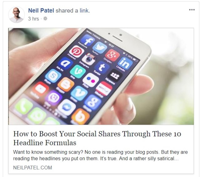 neil patel shared a link on facebook