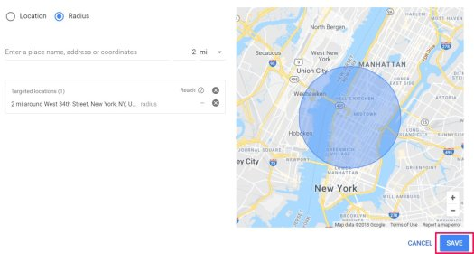 radius google adwords