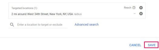 save targeted location adwords