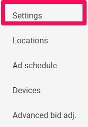 settings tab tab adwords
