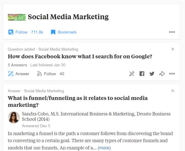 social media marketing on quora