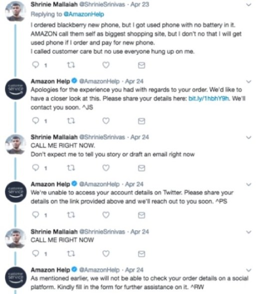 amazon dealing with crazy customer on twitter