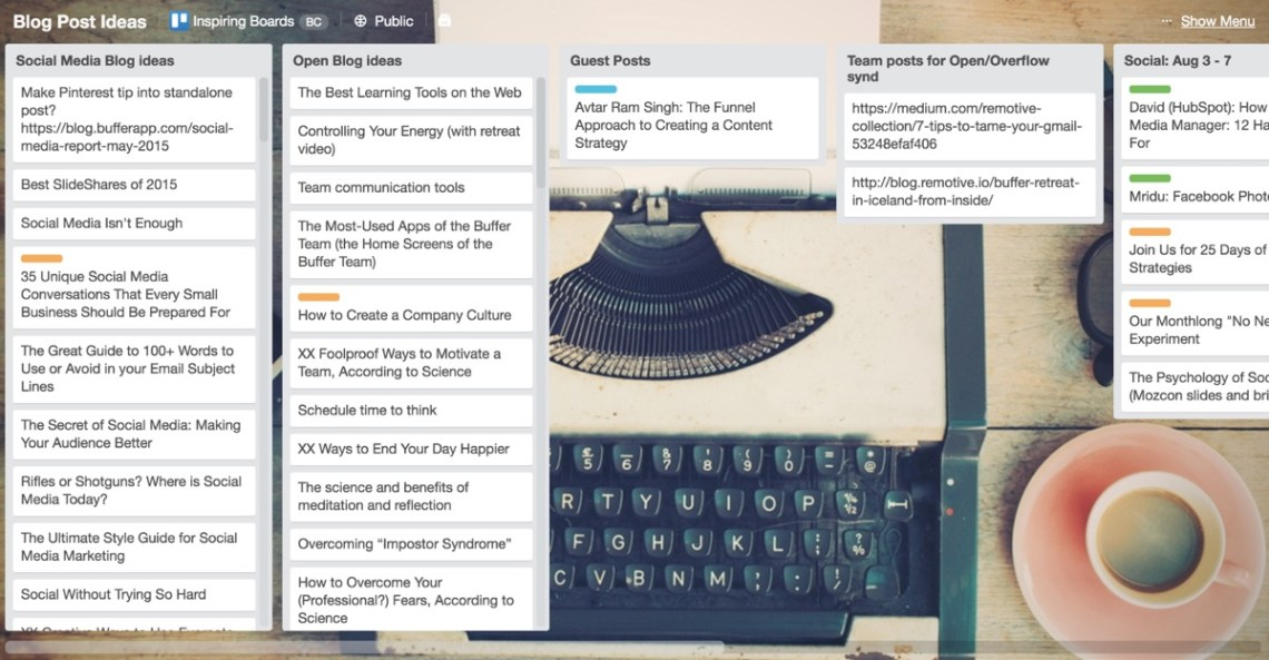 buffer blog posts trello