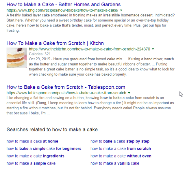 how to make cake google search results