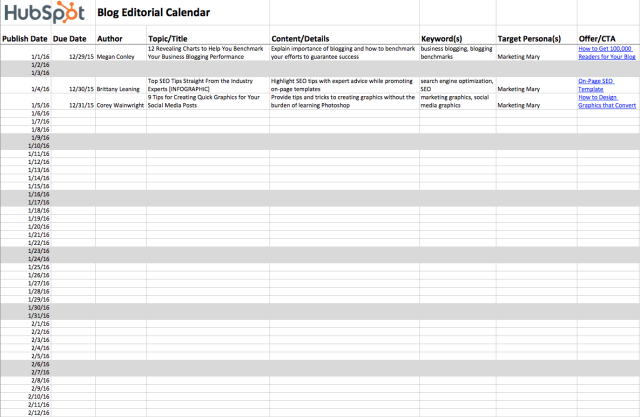 hubspot blog editorial calendar