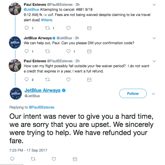 jetblue interaction with customer on twitter