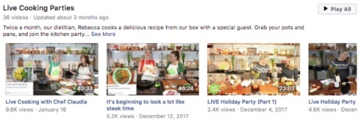live cooking parties facebook video