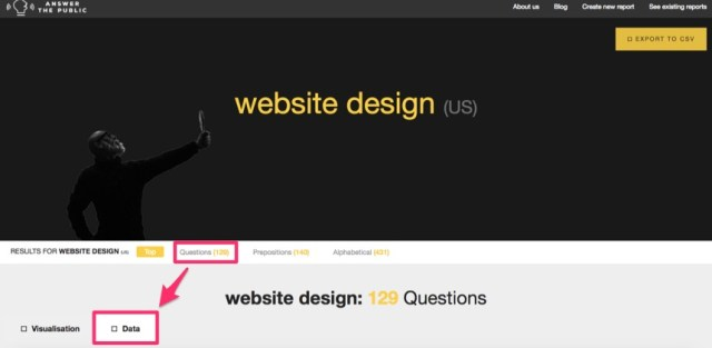 answer the public website design data selection