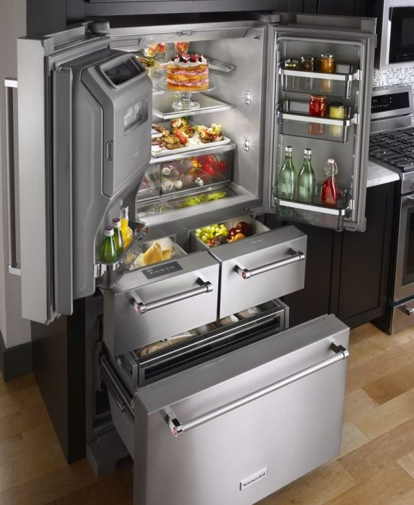 5-Door Refrigerator with open doors