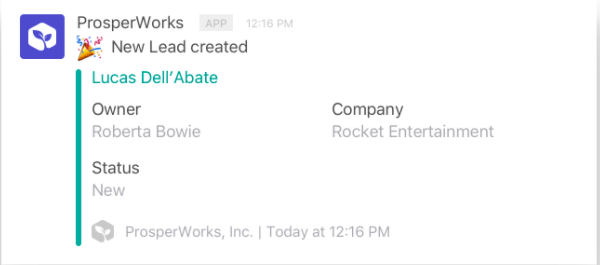 prosperworks slack integration