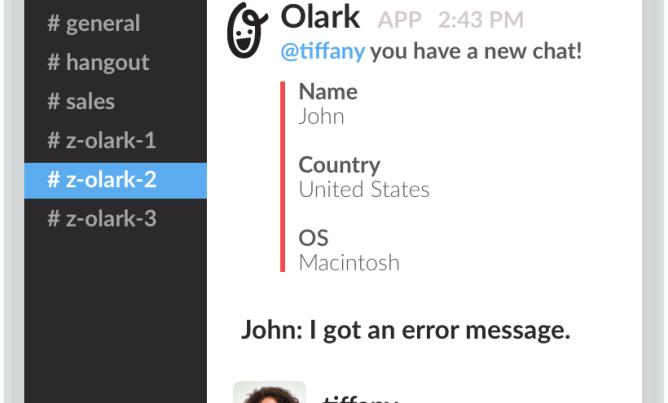 olark slack integration