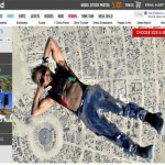 Guy skydiving into burning man with disco ball pants
