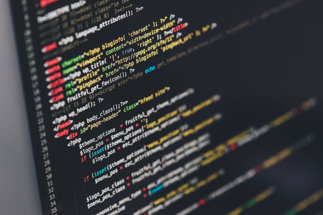 computer screen displaying coding language