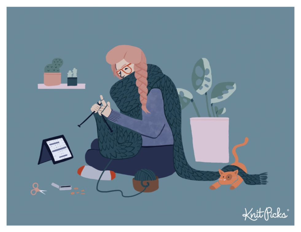An illustration of a woman sitting on the floor knitting