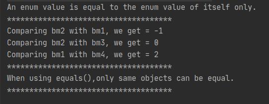 Java enums, comaprison mechanisms.