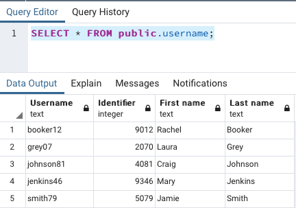 PostgreSQL table
