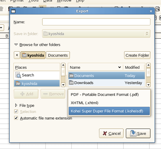 Export dialog with new export filter entry